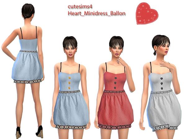 Sims 4 Ballon Heart Minidress Set by sweetsims4 at TSR