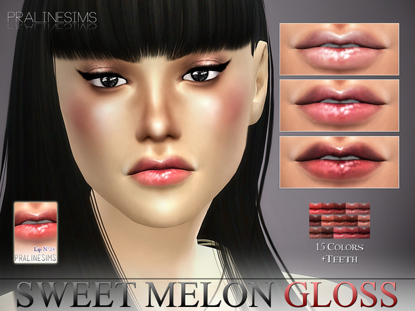 Sweet Melon Gloss N24 + Teeth by Pralinesims at TSR image 3422 Sims 4 Updates