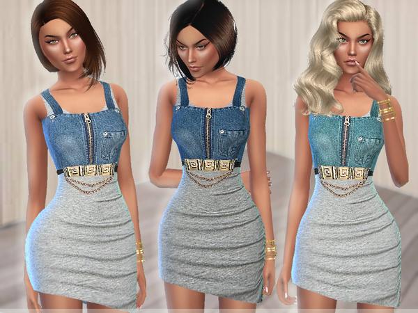 Sims 4 Cotton & Denim Dress by Puresim at TSR