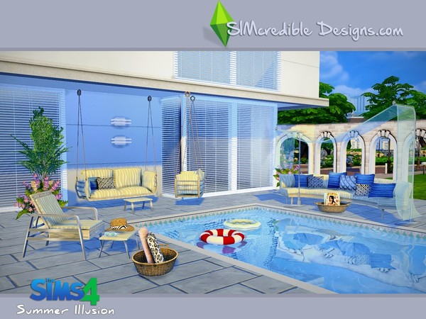 Summer illusion set by simcredible at tsr sims 4 updates for Pool design sims 4