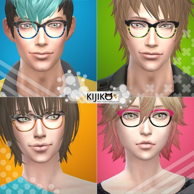 Semi Square Eyeglasses at Kijiko image 3518 670x670 Sims 4 Updates