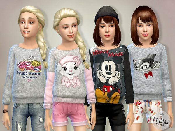 Sims 4 Printed Sweatshirt for Girls P01 by lillka at TSR