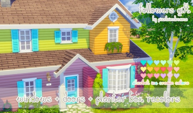 Windows + Doors + Planter Box Recolors at Pixelsimdreams image 3721 670x392 Sims 4 Updates