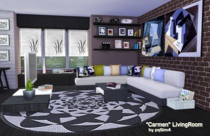 Carmen living room by mary jim nez at pqsims4 sims 4 updates for Living room designs sims 4