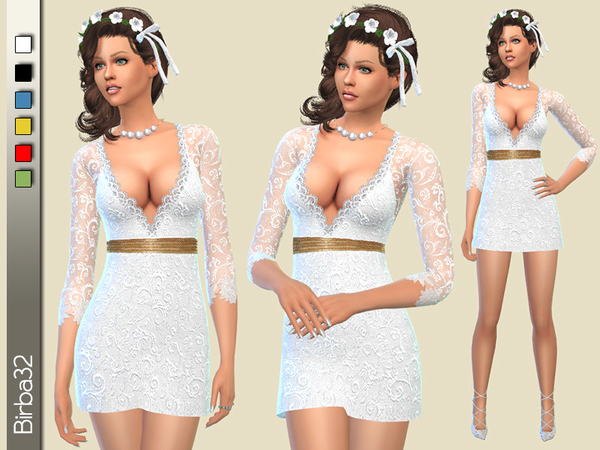 Wedding short dress by Birba32 at TSR image 4019 Sims 4 Updates