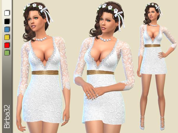 Sims 4 Wedding short dress by Birba32 at TSR