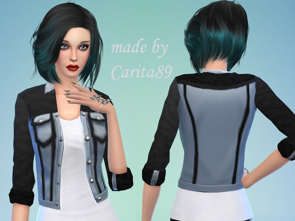 Denim&Leather Jacket by Carita89 at TSR image 411 Sims 4 Updates