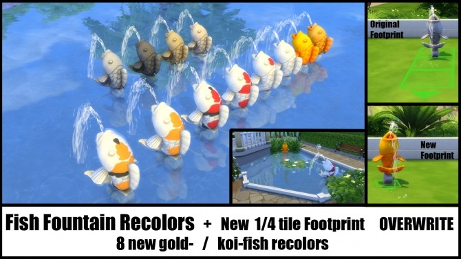 Fish fountain recolor changed footprint by bakie at mod for Sims 4 fishing