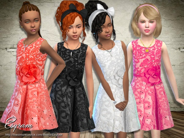Sims 4 Sleeveless Floral Lace Dress by EsyraM at TSR