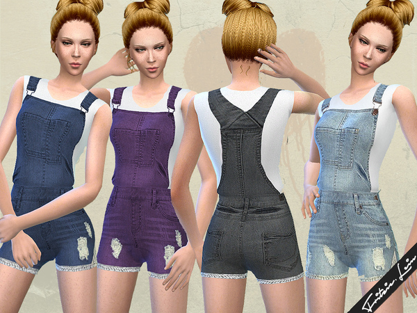 Sims 4 Denim Dungarees by Fritzie.Lein at TSR