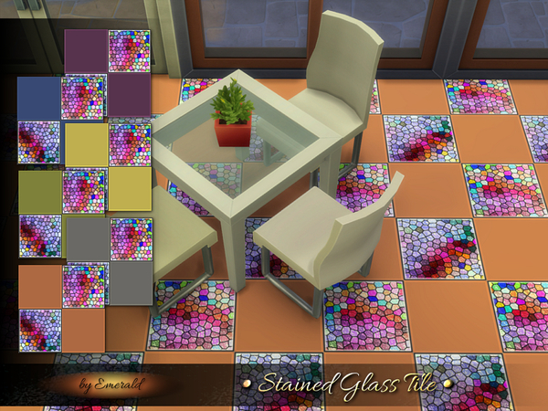 Sims 4 Stained Glass Tile by emerald at TSR