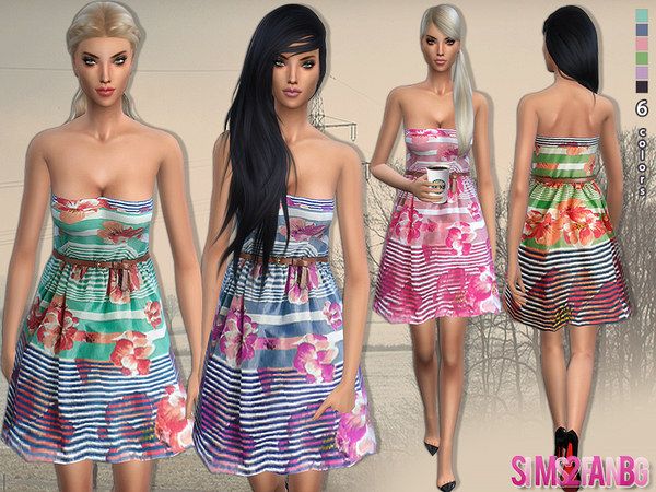 Floral summer dress with belt by sims2fanbg at TSR image 4619 Sims 4 Updates