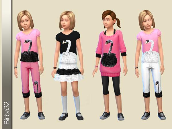 Sims 4 Black and white swan set by Birba32 at TSR