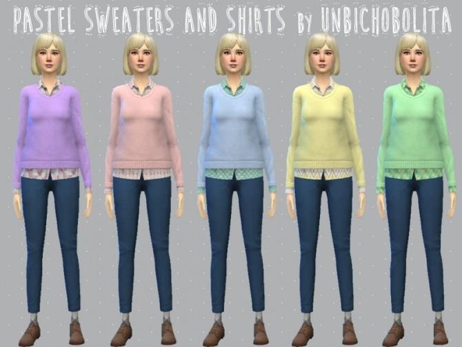 Sims 4 Pastel sweaters and shirts at Un bichobolita