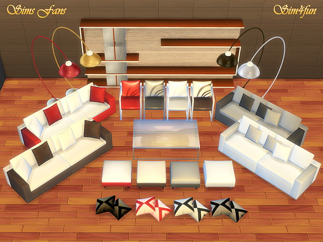 Modern living room furniture by sim4fun at sims fans for Modern living room sims 4