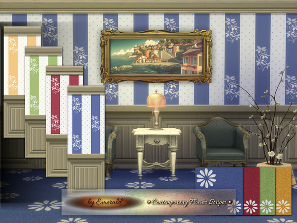 Sims 4 Contemporay Flower Stripes by emerald at TSR