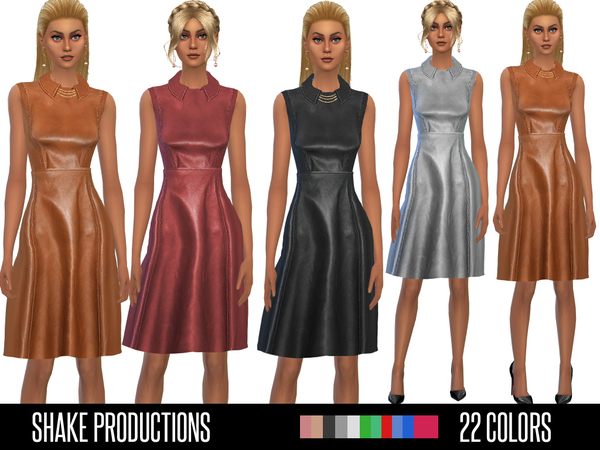 Sims 4 Leather Dress by ShakeProductions at TSR