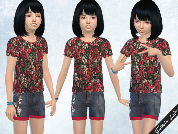 Sims 4 Denim shorts and floral blouse by Fritzie.Lein at TSR