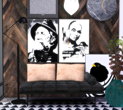 Sims 4 Designer posters 4 + industrial wallpaper collection 2 at Hvikis