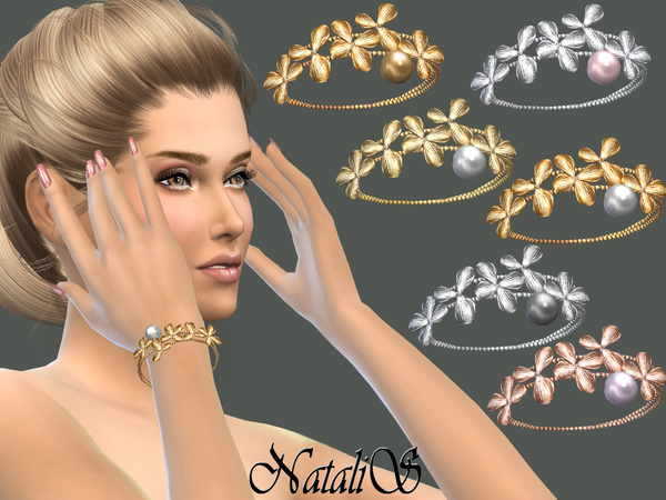 Orchid flowers bracelet right by NataliS at TSR image 530 Sims 4 Updates