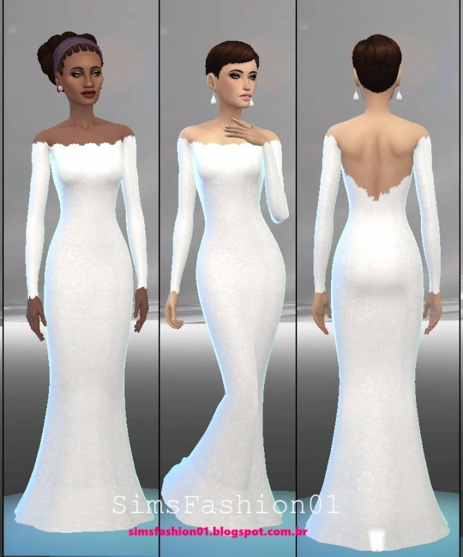Embroidery Wedding Dress at Sims Fashion01 image 537 670x807 Sims 4 Updates