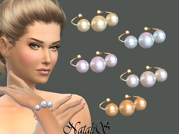 Sims 4 Faux pearls bracelet by NataliS at TSR