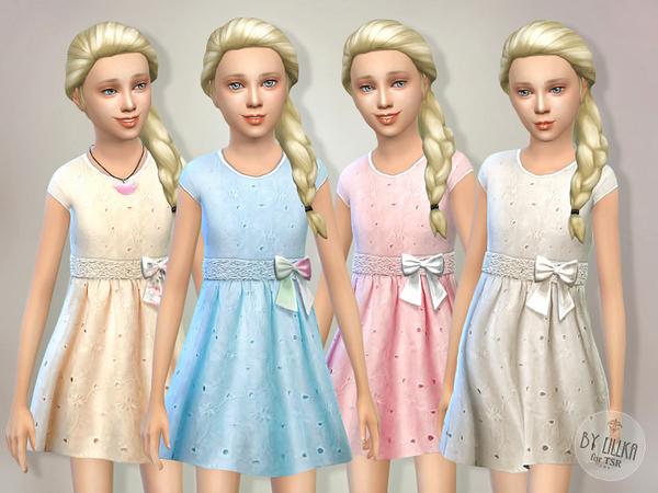 Sims 4 Eyelet Dress by lillka at TSR
