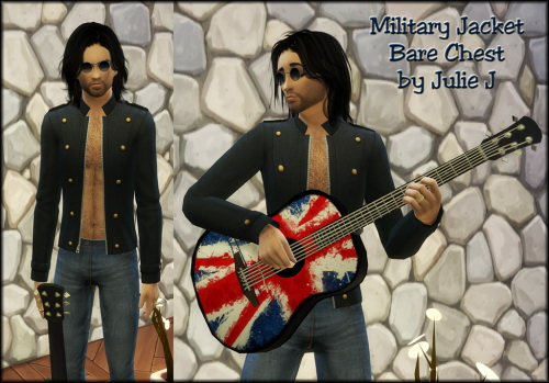 Male Military Jacket Bare Chest at Julietoon – Julie J image 647 Sims 4 Updates