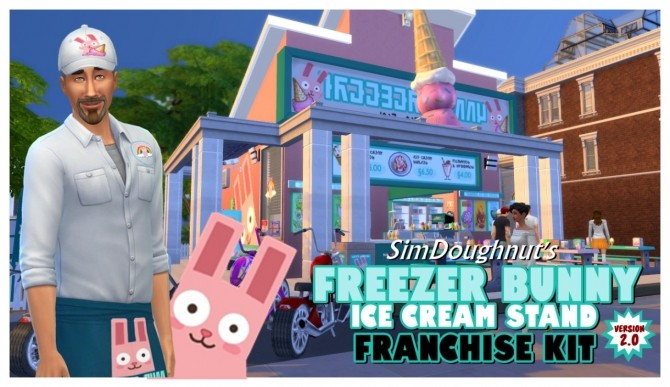 Sims 4 The Freezer Bunny Ice Cream Stand Franchise Kit V2.0 at SimDoughnut