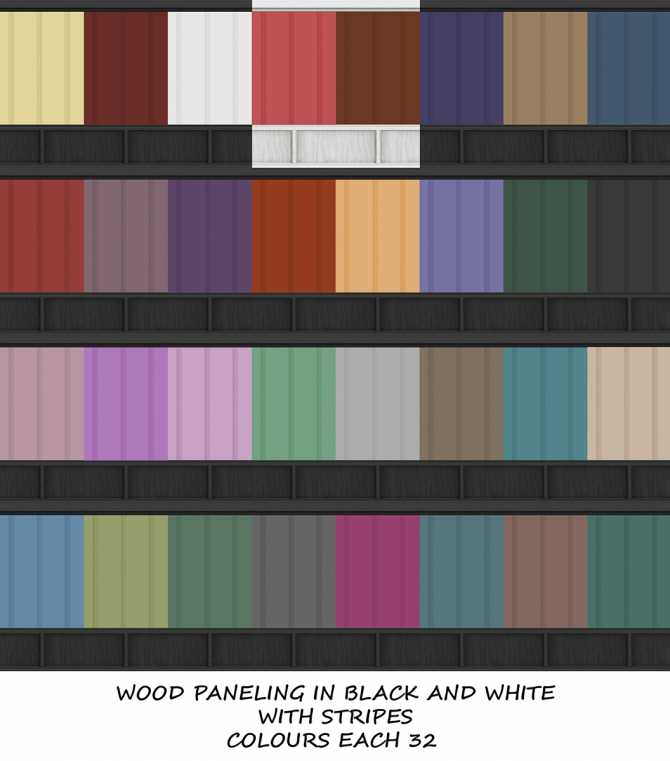 Black And White Wood Paneling With Stripes In 32 Colours