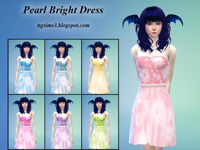 Sims 4 Pearl Bright Dress at NG Sims3