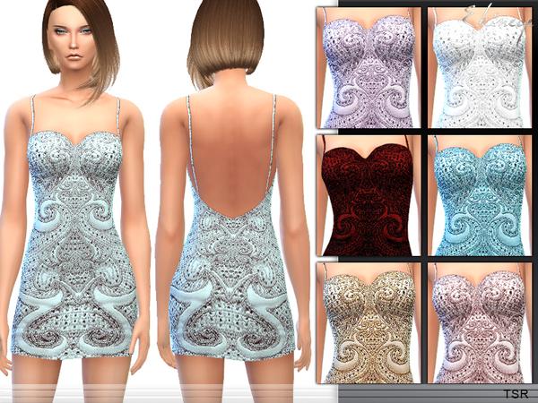 Sims 4 Beaded Spaghetti Strap Dress by ekinege at TSR