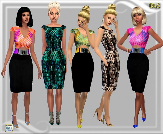 Sims 4 After work Dresses Set of 6 at Dreaming 4 Sims