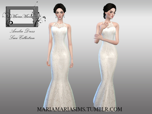 Sims 4 Amelia Dress by MariaMariaSims at TSR