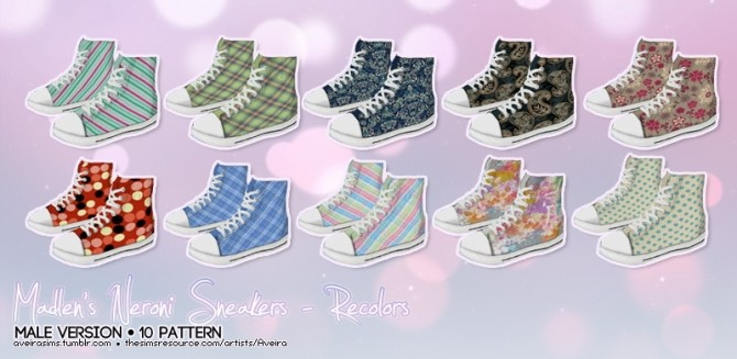Sims 4 Male version of the Neroni Sneakers recolors at Aveira Sims 4