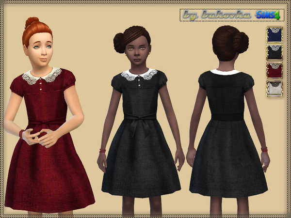 Sims 4 Velvet Dress by bukovka at TSR
