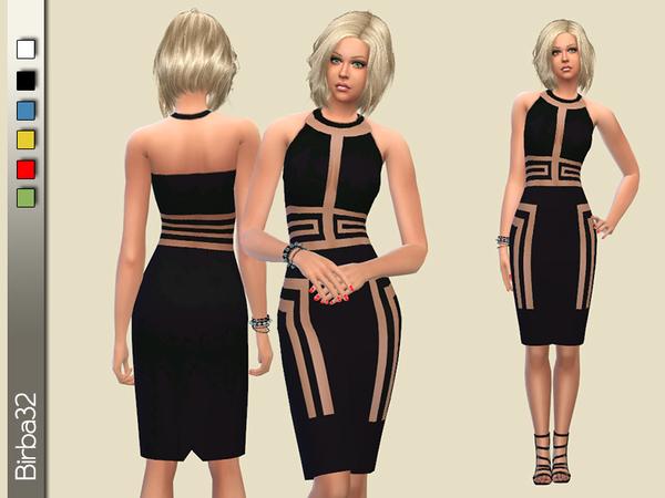 Sims 4 Geometric transparencies dress by Birba32 at TSR