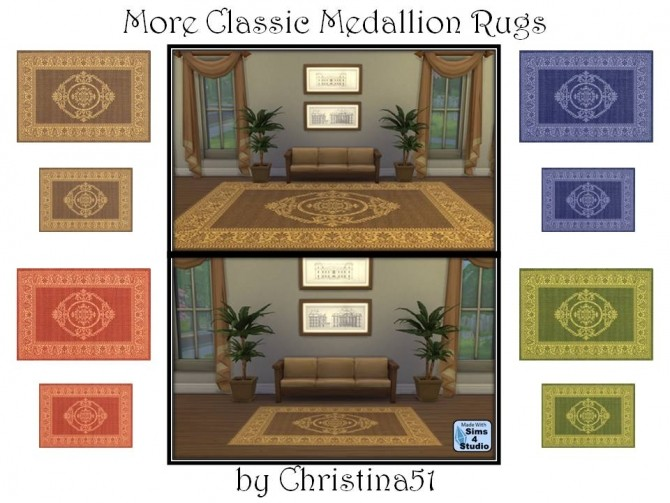 Sims 4 More Classic Medallion Rugs by Christina51 at Mod The Sims