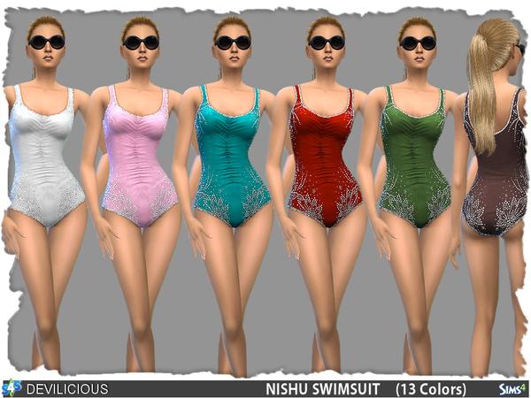 Nishu HotFix Rhinestone Swimsuit by Devilicious at TSR image 872 Sims 4 Updates