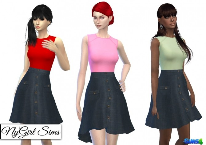 Sims 4 Button Down Denim Flare Dress at NyGirl Sims
