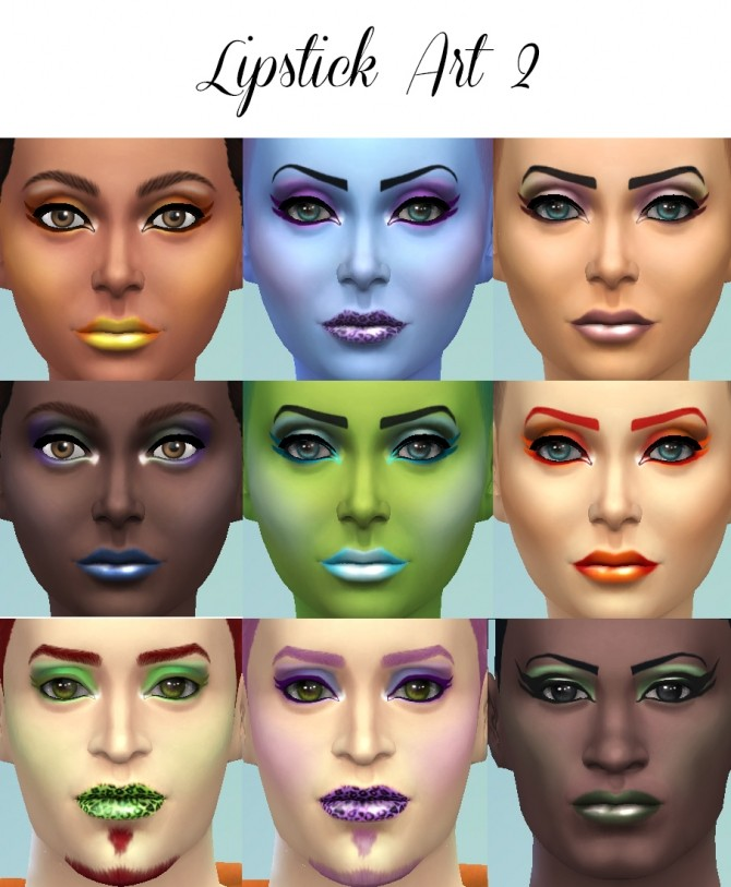 Sims 4 21 Shades of Lipstick Art 2 by Simmiller at Mod The Sims
