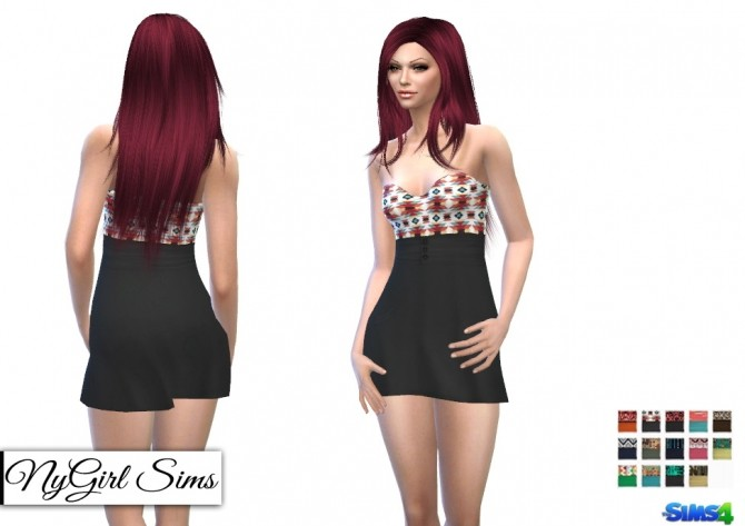 Strapless Tribal Mini Dress at NyGirl Sims image 904 670x473 Sims 4 Updates