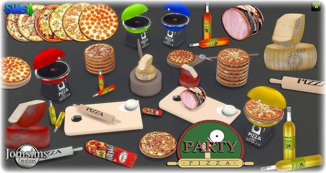 Pizza Party Set At Jomsims Creations 187 Sims 4 Updates