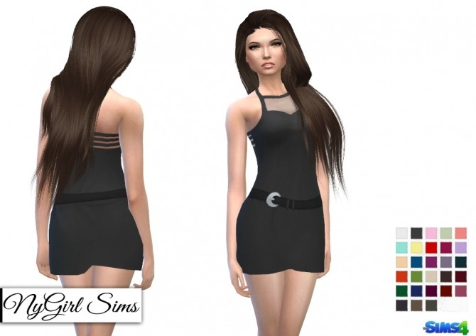 Sims 4 Belted Sleeveless Mini with Sheer Panel at NyGirl Sims