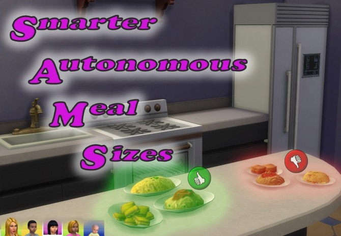 Sims 4 Smarter Autonomous Meal Sizes by scumbumbo at Mod The Sims
