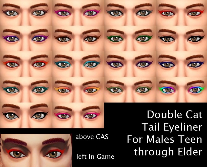Double Cat Tail Eyeliner for Males by Simmiller at Mod The Sims image 982 670x541 Sims 4 Updates