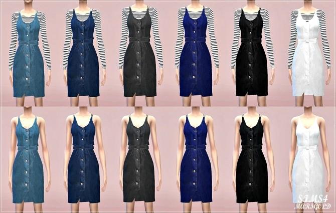 Sims 4 Ribbon belt denim dress at Marigold