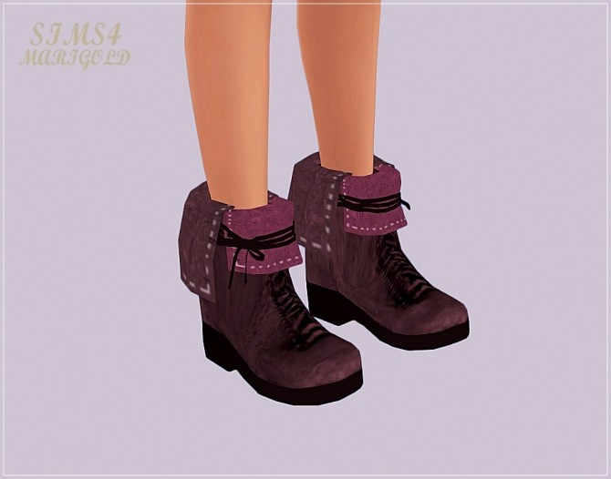 Sims 4 Collar lace up ankle boots at Marigold