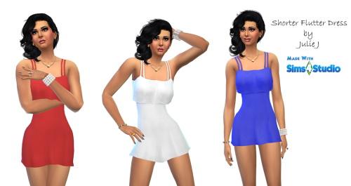 Sims 4 Shorter Flutter Dress and New Colours at Julietoon – Julie J