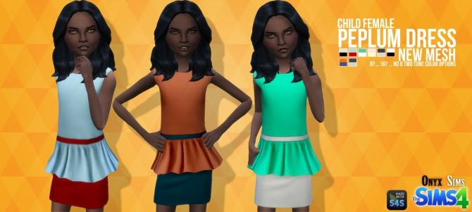 Sims 4 CF Peplum Dress Mesh at Onyx Sims
